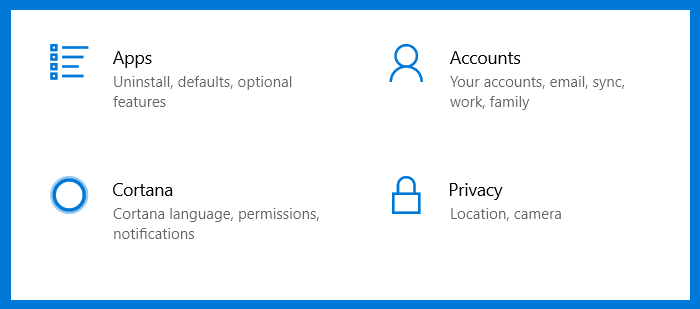 A screenshot of the Windows 10 Apps, Accounts, Cortana, Privacy accessed by left clicking on the tab marked Cortana.
