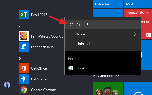 A screenshot with an arrow showing how to pin a program to your Start Menu in Windows 10