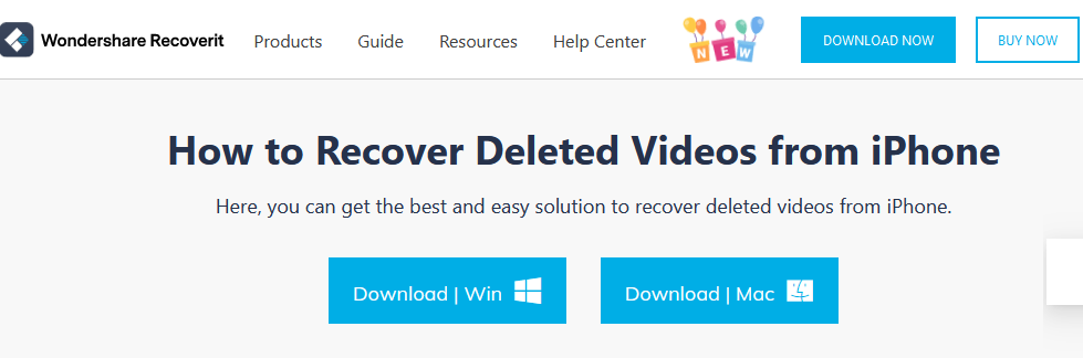The Wondershare Recoverit homepage for iPhone data recovery.