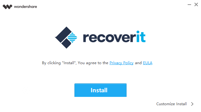 The Recoverit logo and an install button below it.
