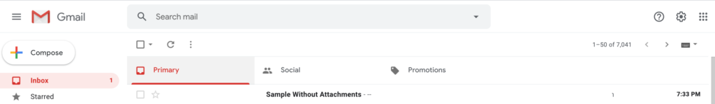 A screenshot of the Gmail inbox showing an email in the inbox without an attachment as an example.
