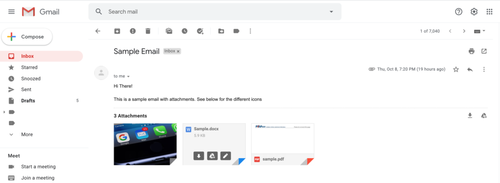 A sample email opened in Gmail showing the message and attachments.