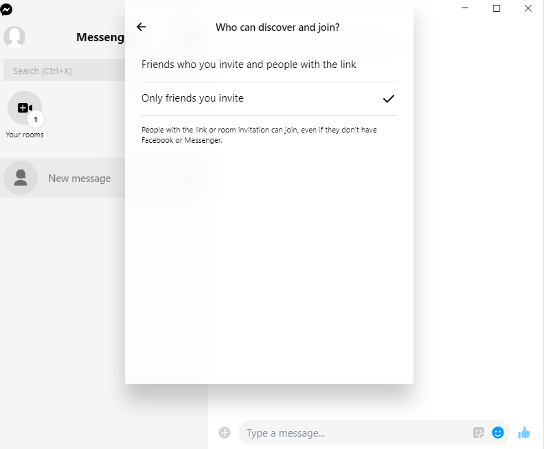 A screenshot of Facebook Messenger with the details of a newly created room, as well as the sharing settings of the new room.
