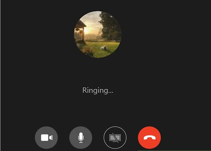 A screenshot of a smartphone placing a video call.