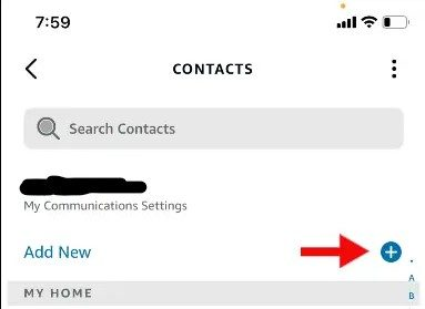 A screenshot of a the Contacts settings in the Amazon Alexa app.