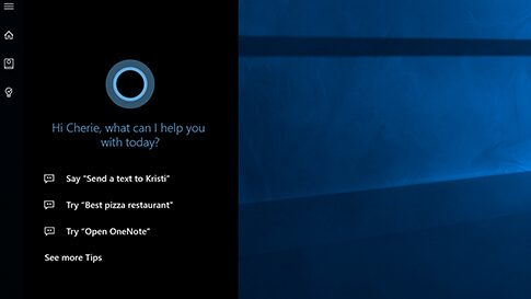 A screenshot of Cortana, Windows 10 assistant.