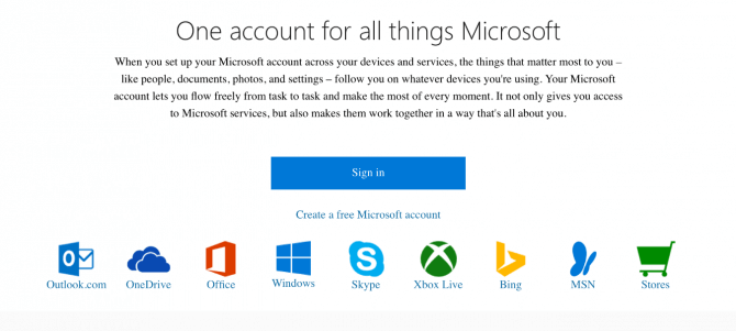 A screenshot of a Microsoft Account login page