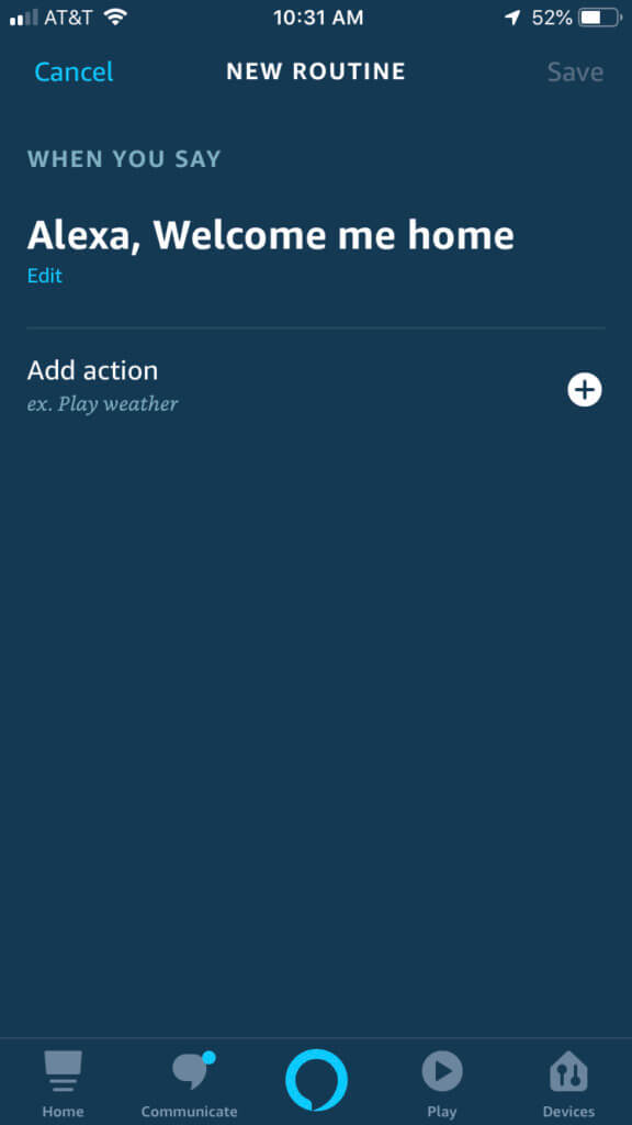 Screenshot of setting up your Alexa routines.