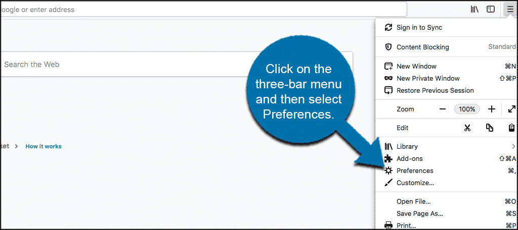 A screenshot of finding the Preferences in Firefox.