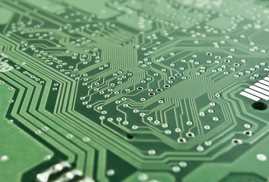A close-up image of a computer's circuit board.