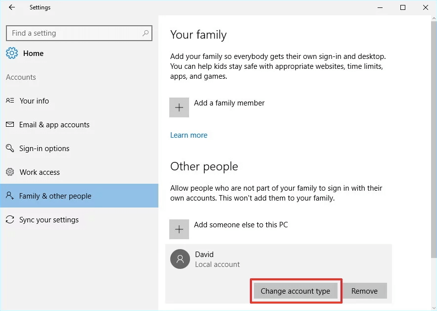 "A screenshot of ""Family and other people"" and highlighting the ""Change account type"" button in Windows 10."