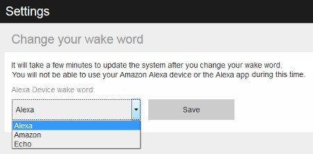 "A screenshot of how to change your ""Wake Word"" with Alexa or Amazon Echo"
