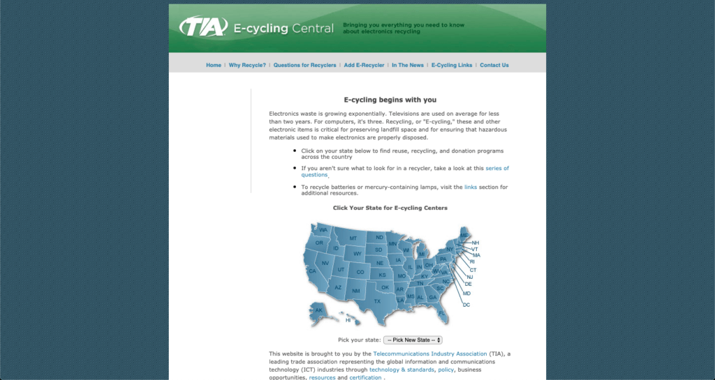 Screenshot of TIA e-cycling website, showing how to find electronic recycling centers.