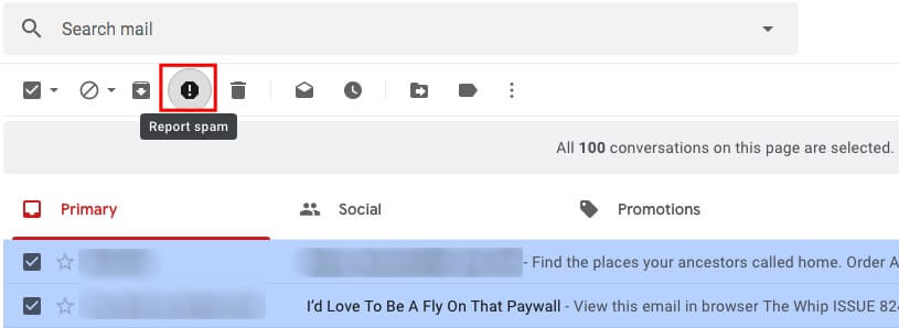 A screenshot of a gmail account and highlighting the spam button