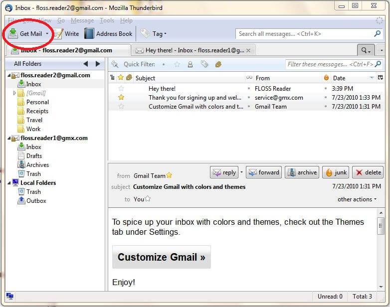 A screenshot of how to retrieve your new emails with Thunderbird