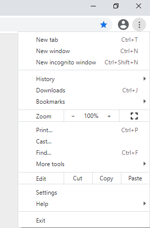 A screenshot of the Chrome web browser menu and settings opened.