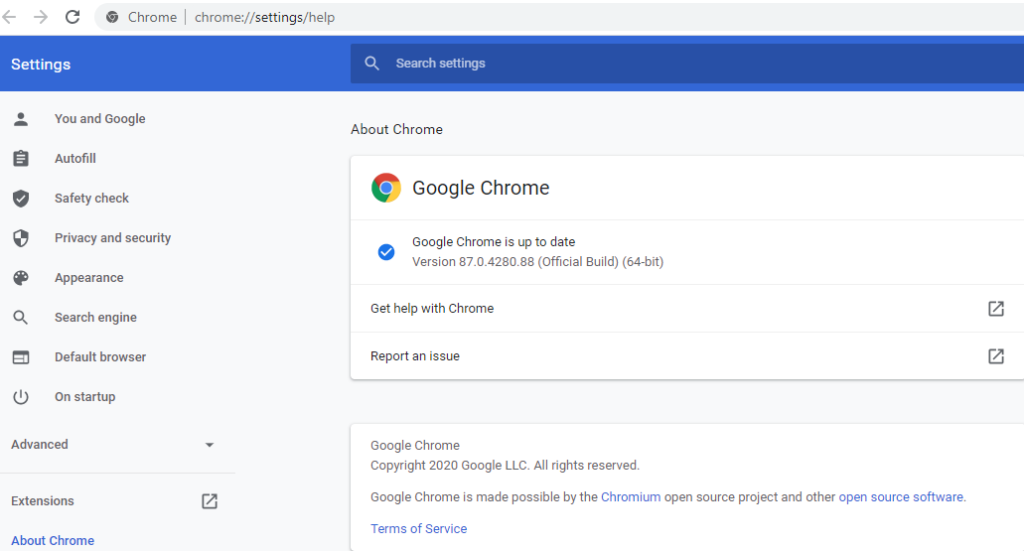 A screenshot of the settings for Google Chrome updates.