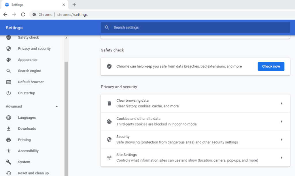 A screenshot of the Google Chrome settings for Safety Check and Privacy and Security.
