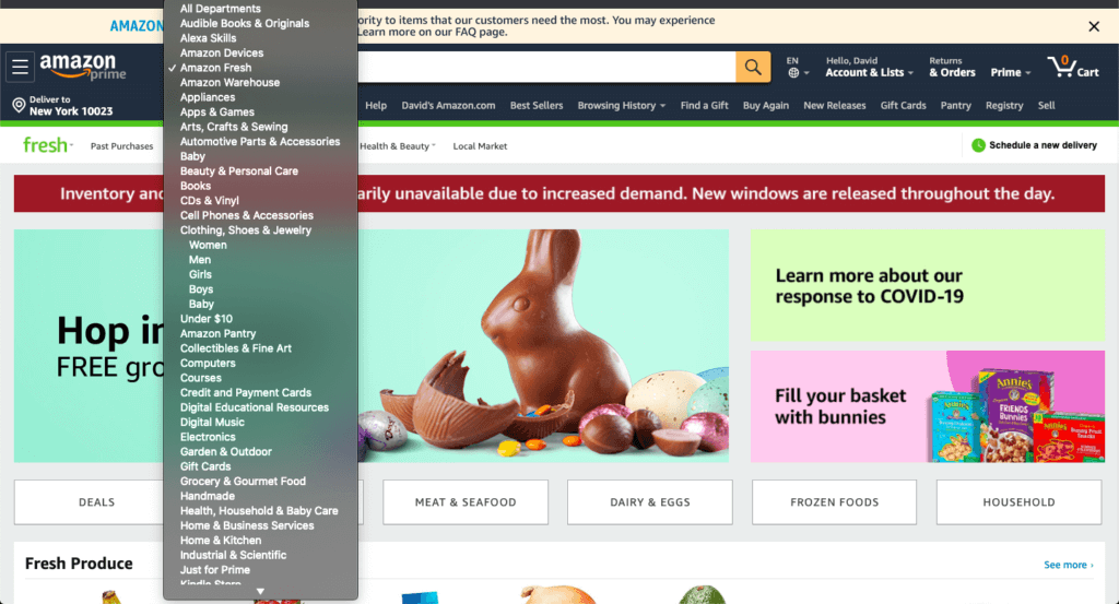 A screenshot of the Amazon Fresh homepage.