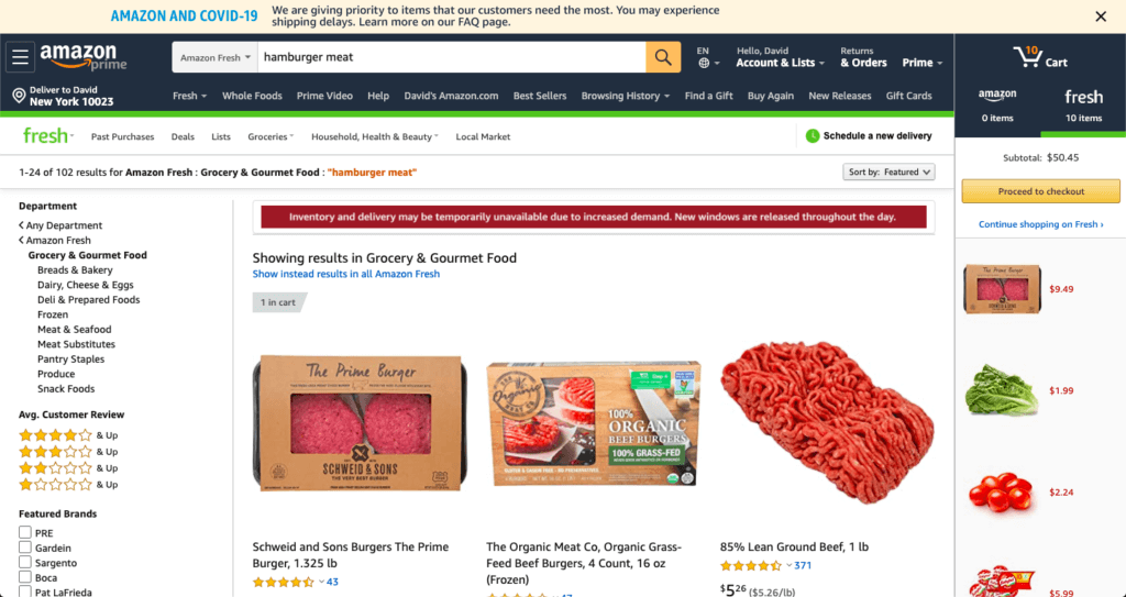 A screenshot of browsing and shopping on Amazon Fresh.
