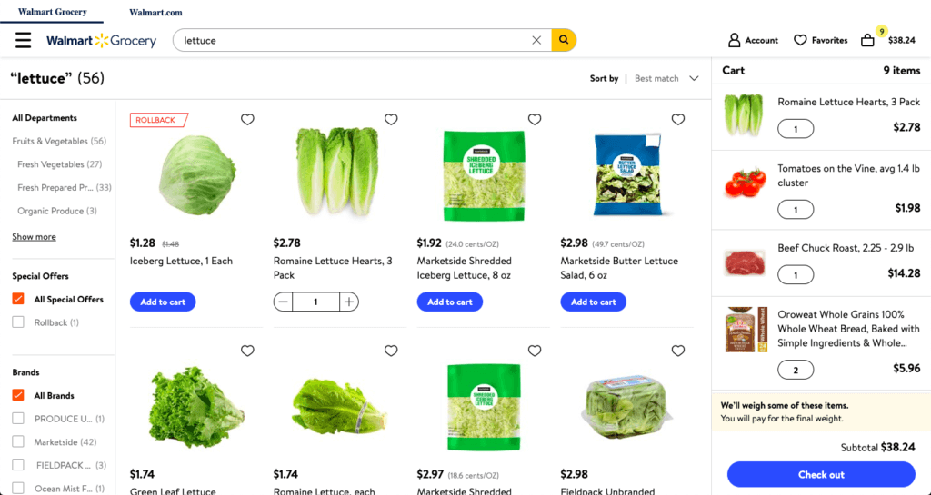 A screenshot of the Walmart Grocery shopping cart.
