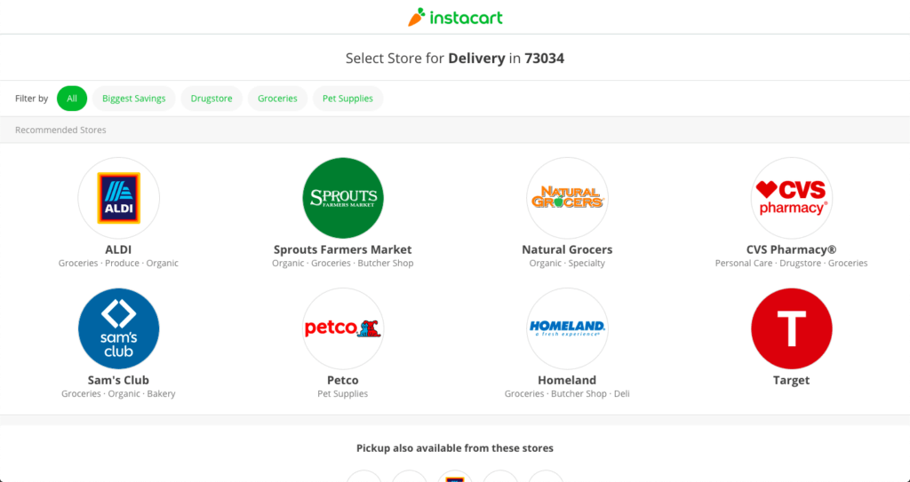 A screenshot of the Instacart search page.