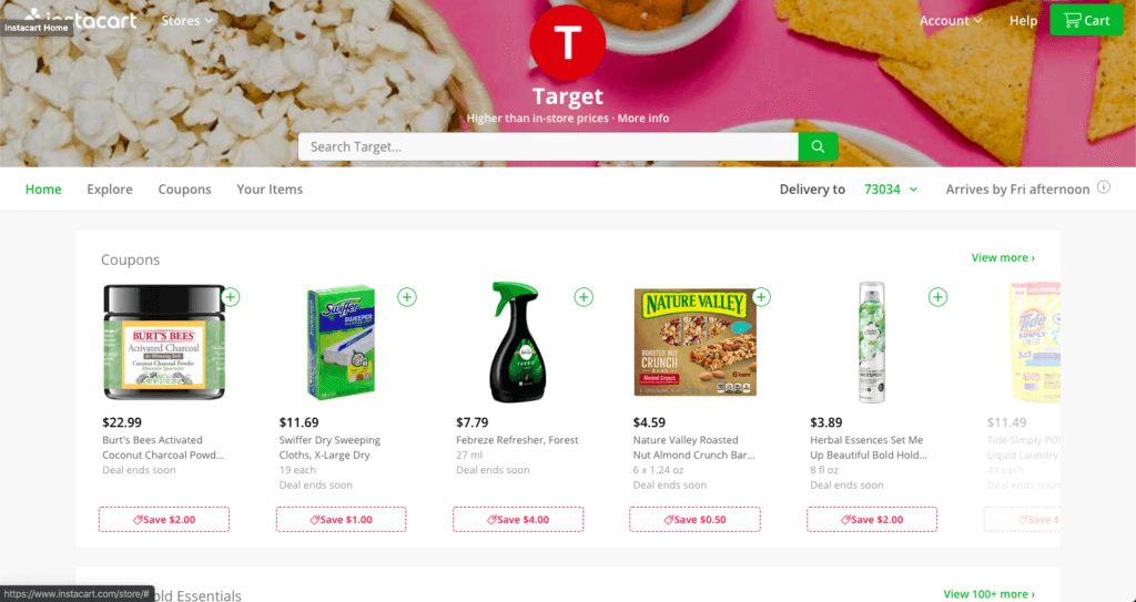 A screenshot on the Instacart homepage shopping a local Target.