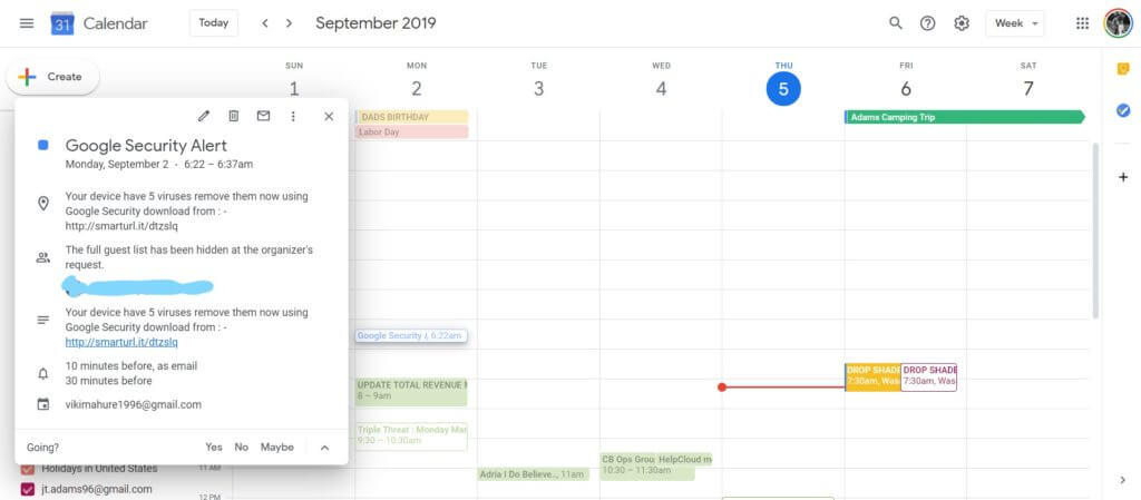 A screenshot of a spam event on Google calendar