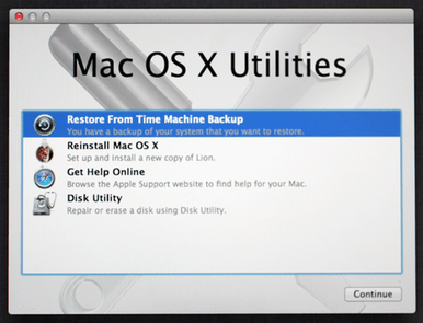A screenshot of Mac OS X Utilities