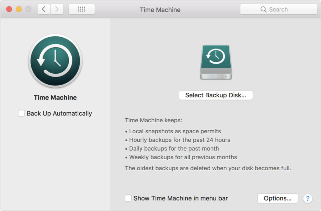 A screenshot of Mac's Time Machine and how to backup macOS operating system