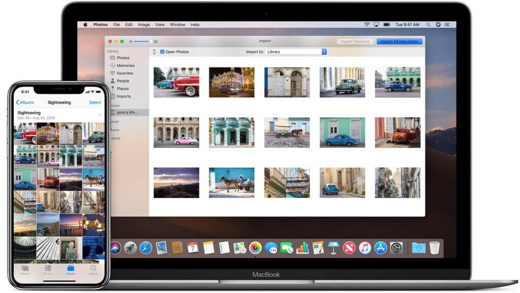 A Macbook and an iPhone side-by-side with photos on both screens (suggests sharing between the two devices)