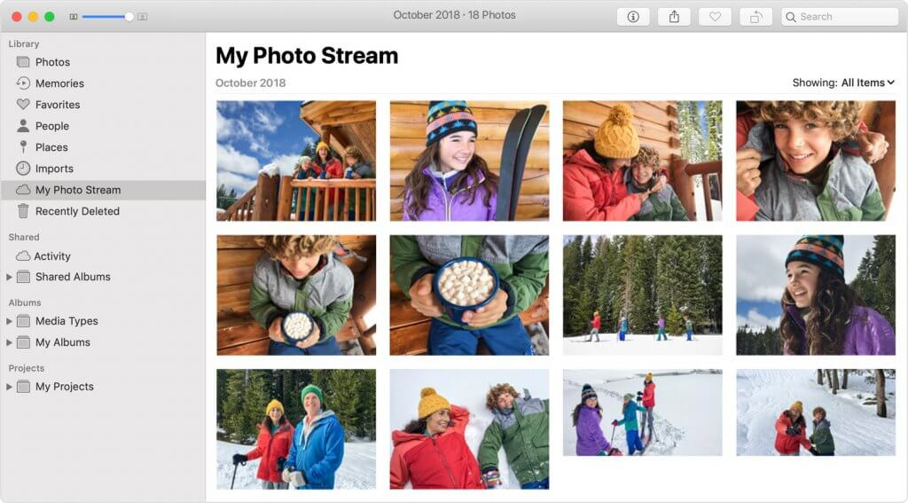 "A screenshot of ""my photo stream"" on a Mac which includes lots of family photos"