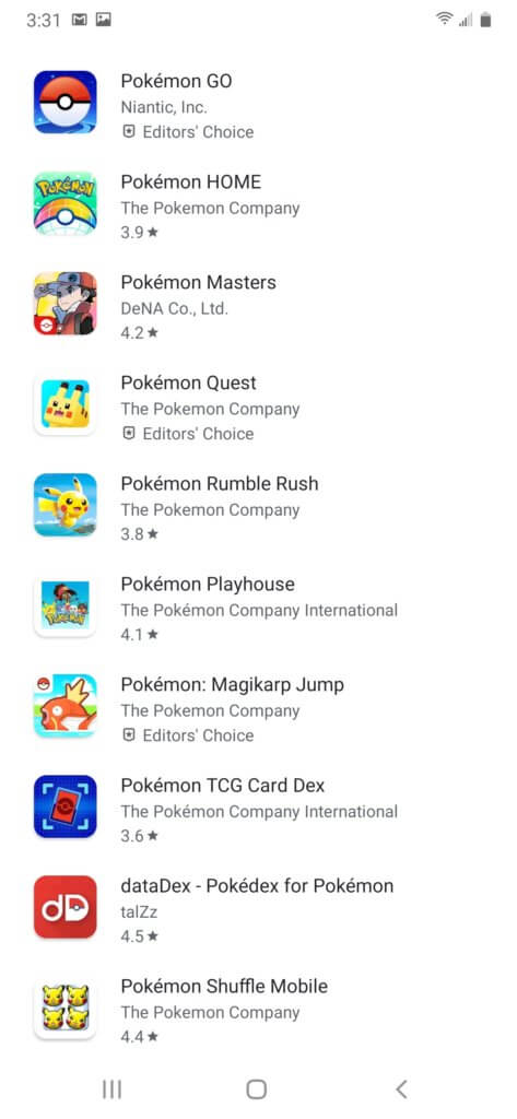 A screenshot of imitation Pokemon Go apps.