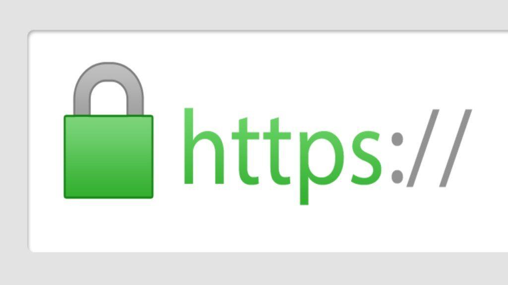 "An image of a secure website connection, ""https""."