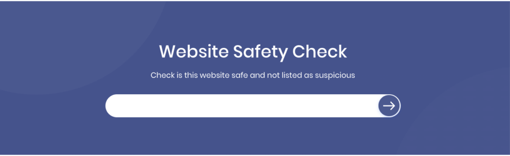 A screenshot of a website safety check website.