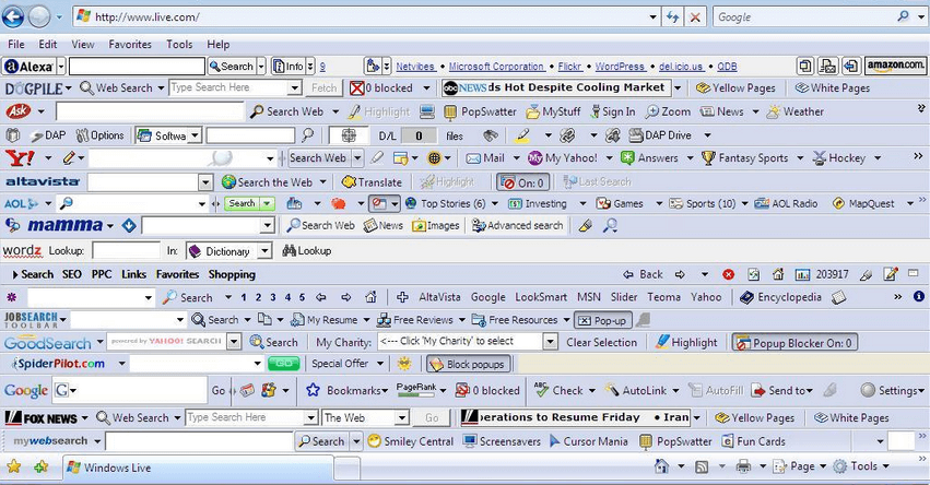 A screenshot of browser highjackers.