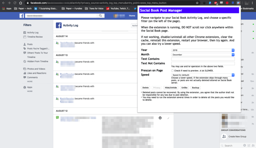 A screenshot of Social Book Post Manager at work, filtering Facebook posts.