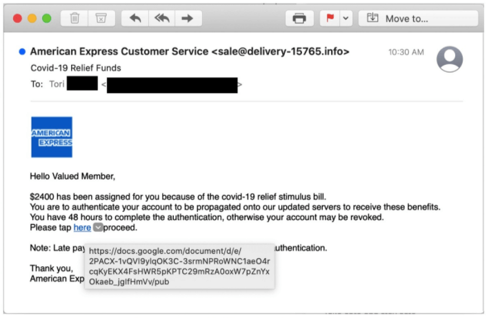 American Express spoofed email.