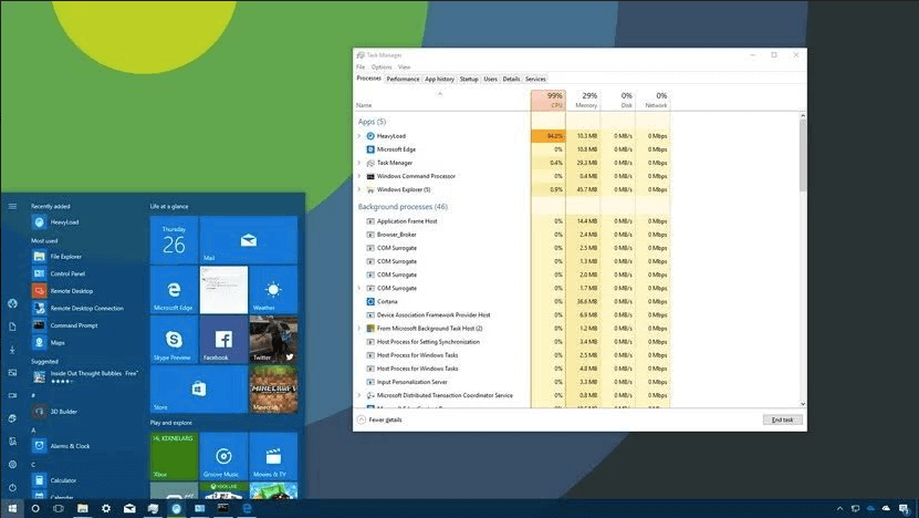 A screenshot of a Windows 10 desktop with System Processes open and showing what programs are running.