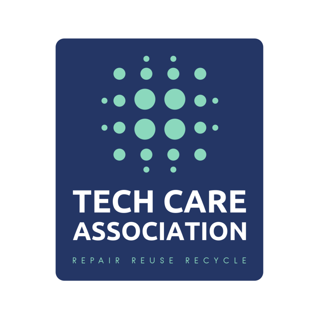 """The logo of the Tech Care Association with the subline """"Repair, resuse, recycle""""."""