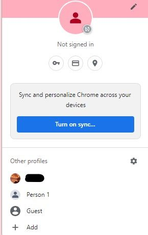 """A screenshot of the """"other profiles"""" on Google Account profile menu."""