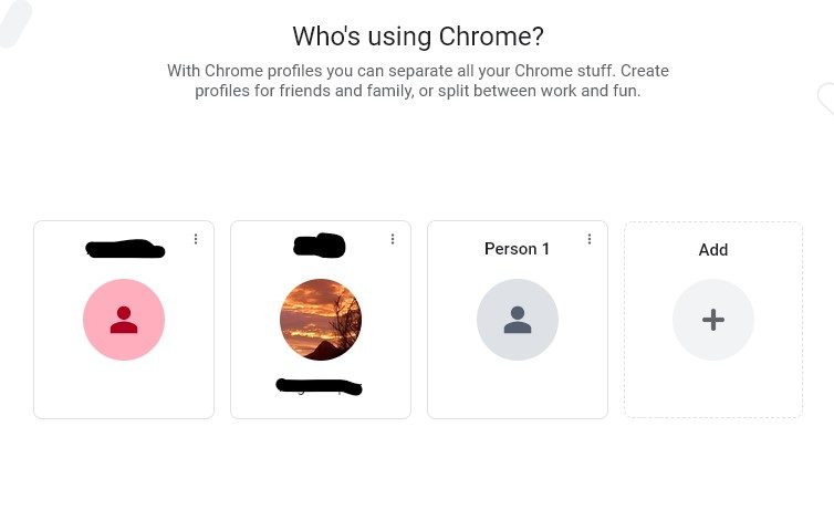 """A screenshot of the """"Who's using Chrome?"""" Google account page."""