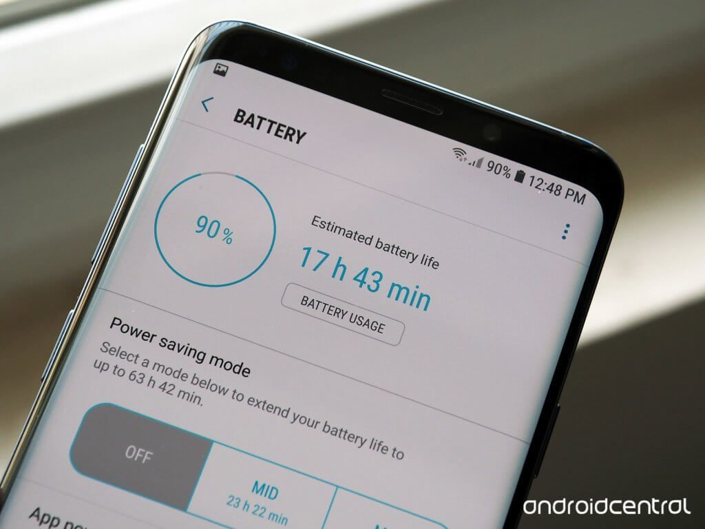 A screenshot of the battery meter and info on a Samsung Galaxy S9
