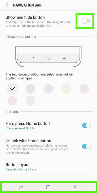 A screenshot of the navigation bar options for a Samsung Galaxy S9
