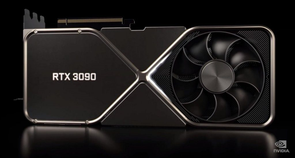 An image of the new GPU from Nvidia (GeForce RTX 30 Series) in all black with silver chrome lining.