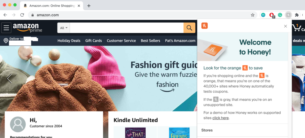 A screenshot of the Amazon's homepage.
