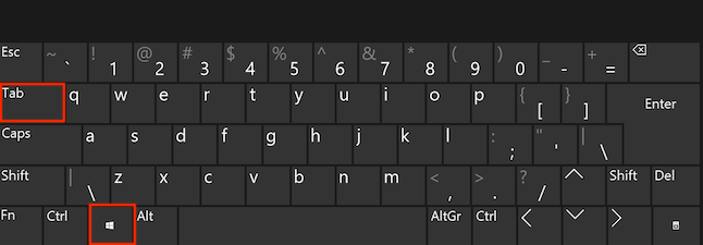 An image of a standard keyboard with highlights around the Windows and Tab keys.