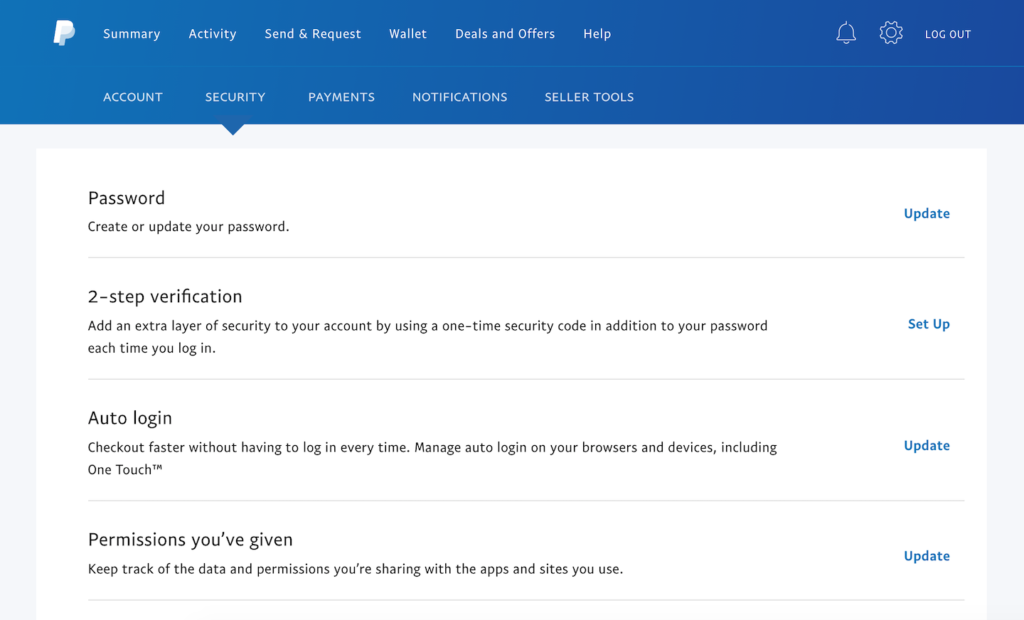 A screenshot of Paypal settings and where to configure two-factor authentication.