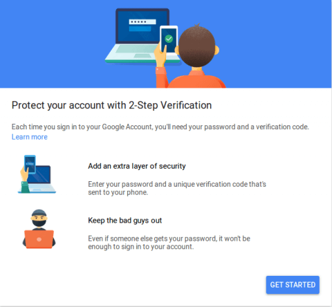 A screenshot of the initial screen for Gmail's two factor authentication