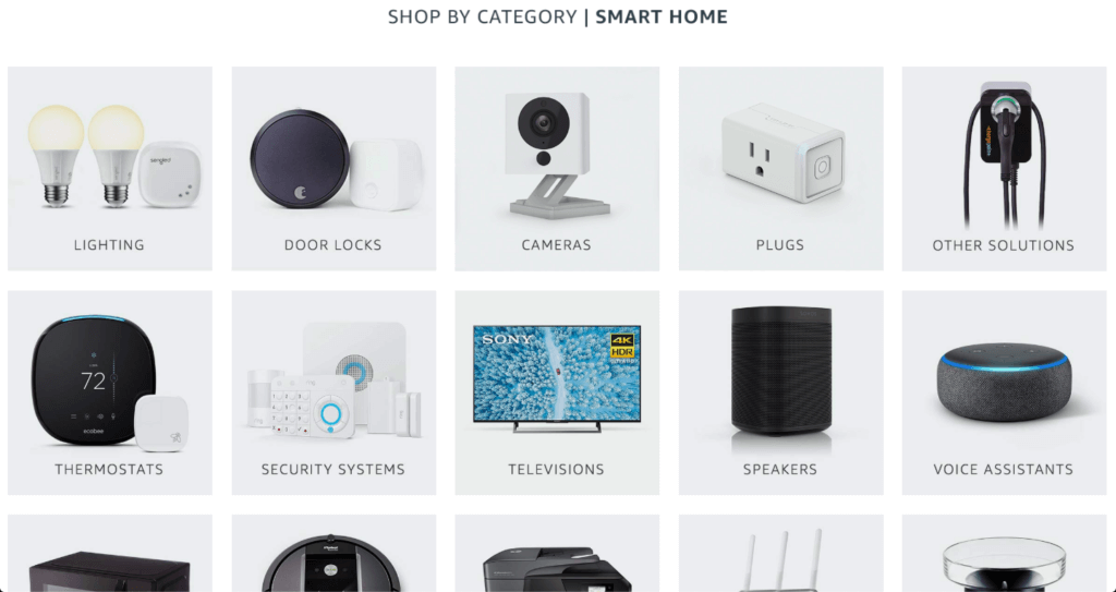 A list of categories for smart devices on Amazon.com